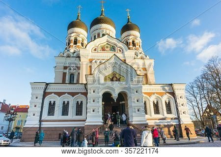 Tallinn, Estonia -01.05.20: St. Alexander Nevsky Cathedral - Stavropegial Cathedral Orthodox Cathedr