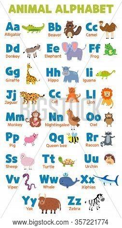 English Vector Alphabet Animals. Editable Set Of English Capital Letters