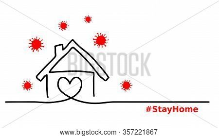 Stay Home Simple, Minimalist Black , Red, White Web Banner, Illustration With Home And Virus. One Co