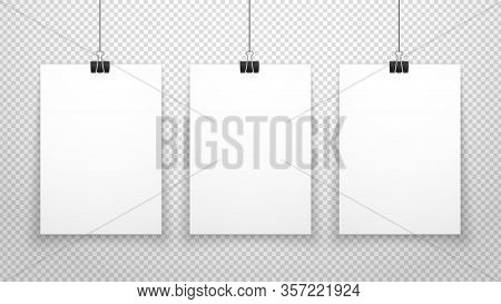 Paper Poster. White Blanks Sheets Hanging On Wall. Three Posters Template Isolated On Transparent Ba