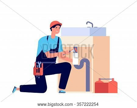 Plumber. Man Fixing Pipeline, Water Valve And Sink. Isolated Worker With Tools. Pipes Repairing, Hom