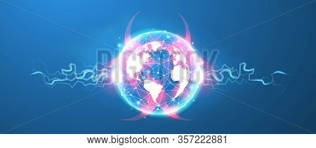 The World In A Pandemic. Infection Outbreak On Planet Earth. Global Quarantine, Biohazard Danger. Lo