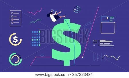 Woman Financial Success. Businesswoman Jumps Over Money, Business And Profitable Investment. Female