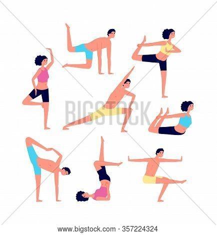 Yoga Exercises. Adult Exercising, Fitness People. Male Female Stretching Or Pilates Poses. Training