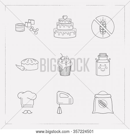 Set Of Food Icons Line Style Symbols With Chef Hat, Turkish Delight, Milk Can And Other Icons For Yo