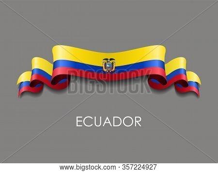 Ecuadorian Flag Wavy Ribbon Background. Vector Illustration.