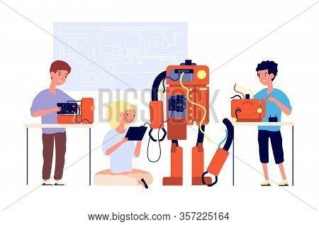 Robotics. Robots Presentation, School Engineering Technology. Children Showing Cyborg. Young Enginee