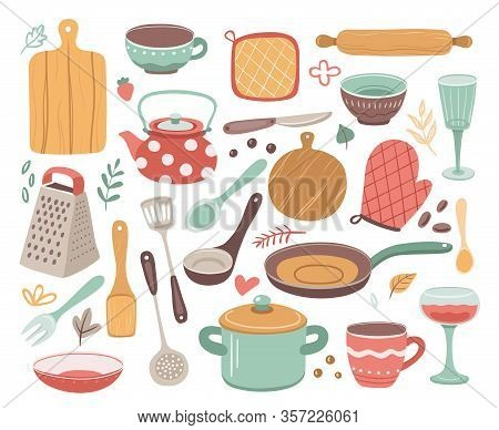 Kitchen Tools. Kitchenware, Cooking Baking Utensils. Doodle Ceramic Kettle, Spatula And Glass. Isola