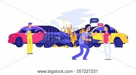 Car Accident. Angry Male Female Drivers And Insurance Manager. Isolated Autos In Fire Vector Illustr