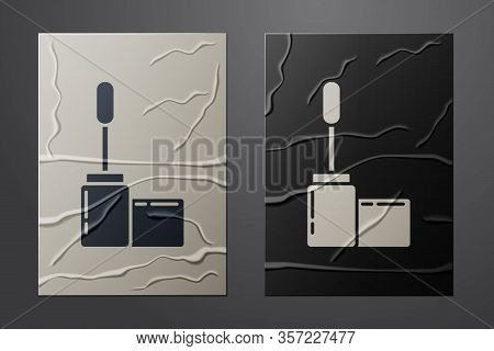 White Mascara Brush Icon Isolated On Crumpled Paper Background. Paper Art Style. Vector Illustration