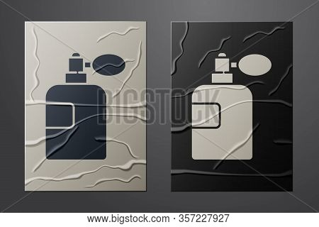 White Perfume Icon Isolated On Crumpled Paper Background. Paper Art Style. Vector Illustration