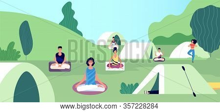 Morning Meditation. Summer Yoga Camping. People Keep Calm, Fitness Workout On Nature Vector Illustra