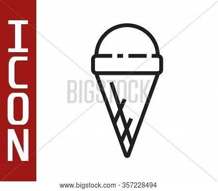 Black Line Ice Cream In Waffle Cone Icon Isolated On White Background. Sweet Symbol. Vector Illustra