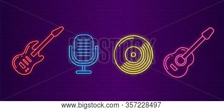 Music Icons. Neon Musical Instruments Signs. Guitars, Microphone And Cd Disc Light Glow Symbols For