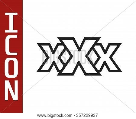Black Line Sex Shop Icon Isolated On White Background. Sex Shop, Online Sex Store, Adult Erotic Prod