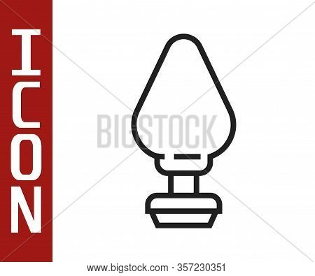Black Line Anal Plug Icon Isolated On White Background. Butt Plug Sign. Fetish Accessory. Sex Toy Fo