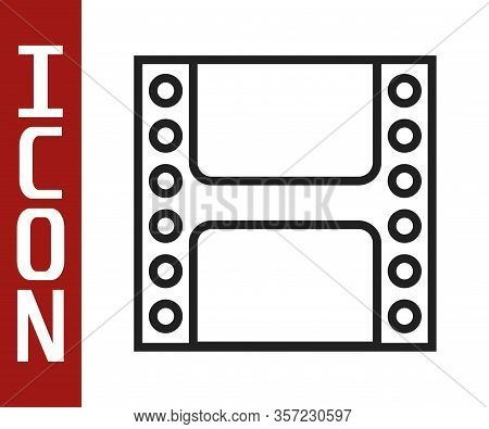 Black Line Play Video Icon Isolated On White Background. Film Strip Sign. Vector Illustration
