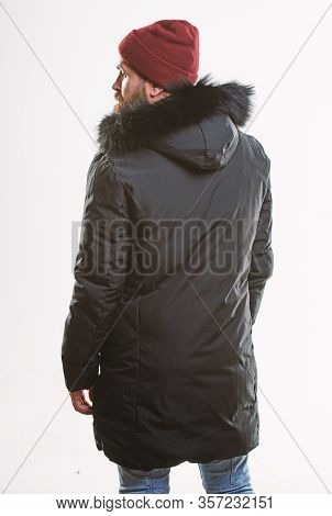 Hood Adds Warmth And Weather Resistance. Man Bearded Stand Warm Jacket Parka Isolated On White Backg