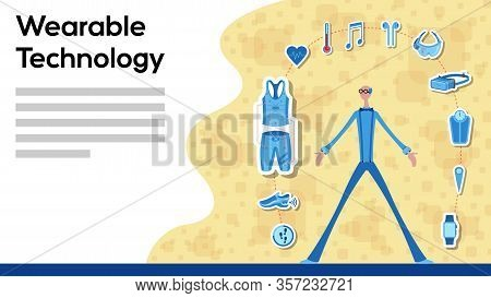Business Manager Working For Wearable Technology With Icons. All The Objects, Shadows And Background