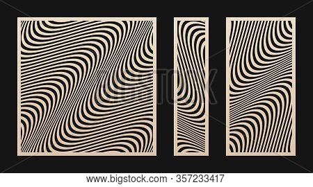 Laser Cut Panel Set. Vector Stencil With Abstract Geometric Pattern, Wavy Lines, Curves, Stripes. Mo