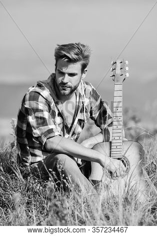 Pleasant Time Alone. Peaceful Mood. Guy With Guitar Contemplate Nature. Inspiring Nature. Musician L
