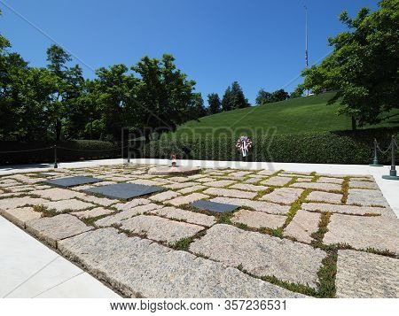 Washington D.c., Usa - June 4, 2019: Image Of The Kennedy Grave Site At Arlington National Cemetery.