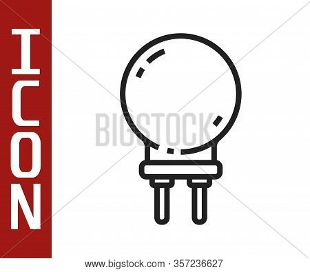 Black Line Light Emitting Diode Icon Isolated On White Background. Semiconductor Diode Electrical Co