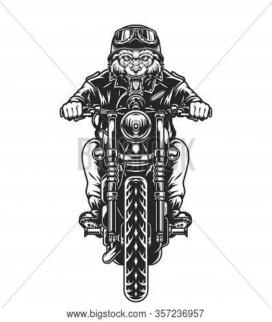 Cruel Wolf Head Motorcyclist In Helmet And Goggles Riding Motorbike In Vintage Monochrome Style Isol