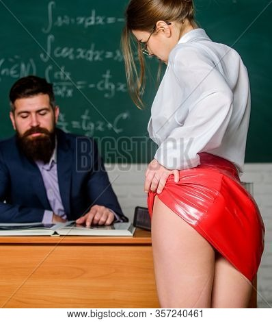 Sexy Seduction. Sexy Student. University High School. Sexy Butt Red Latex Skirt In Front Of Teacher.