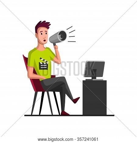 Movie Making Concept With Director. Flat Cartoon Vector Illustration. Tv Person At Work. Director In