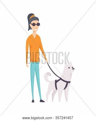 Dog Companion And Blind Girl On Walk Isolated On White Background - Blind Person And Guide Dog. Vect