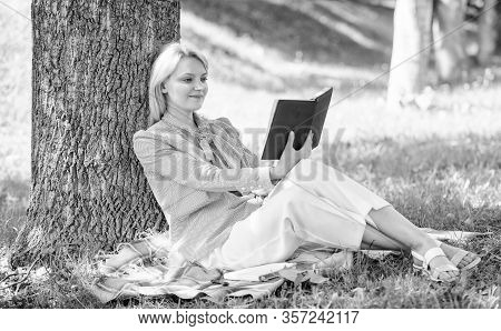 Business Lady Find Minute To Read Book Improve Her Knowledge. Female Self Improvement. Girl Lean On