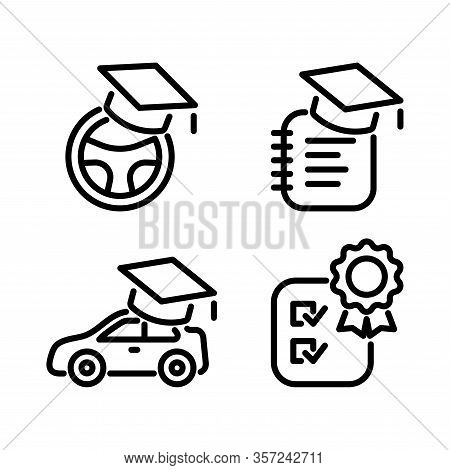 Driving School, Auto Education Line Icons Set. Black Online Car Study Simple Elements Isolated On Wh