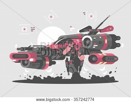 Flying Machine Of Future And Cool Dude