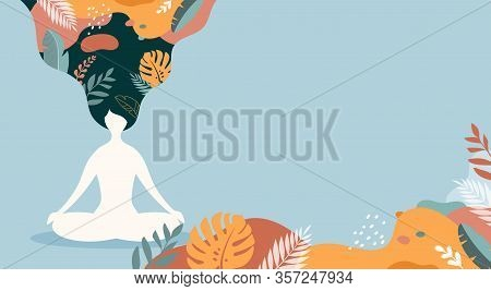 Coping With Stress And Anxiety With Mindfulness, Meditation And Yoga. Vector Background In Pastel Vi