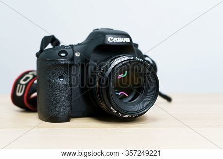 Digital Camera Lens Focus Dslr Photography Aperture. Canon Eos, 50 Mm F 1,4 On White Backgound