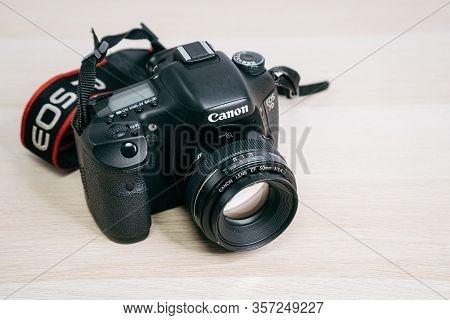 Digital Camera Lens Focus Dslr Photography Aperture. Canon Eos, 50 Mm F 1,4 On White Backgound