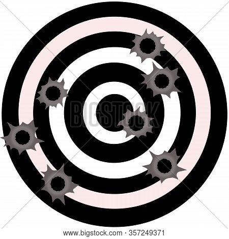 Bullet Holes. Gun Bullet Holes In Metal Wall Vector.  Fire Gunshot Effect. Damage Illustration