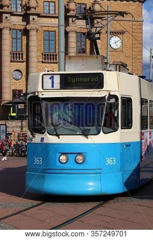 Gothenburg, Sweden - August 26, 2018: Blue Tram In Gothenburg, Sweden. Gothenburg Has Largest Tram N