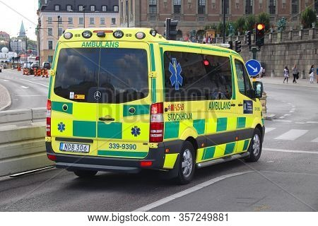 Stockholm, Sweden - August 23, 2018: Ambulance Vehicle (mercedes-benz Sprinter) In Stockholm.