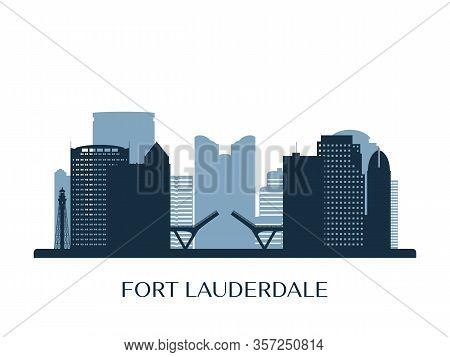 Fort Lauderdale Skyline, Monochrome Silhouette. Vector Illustration.