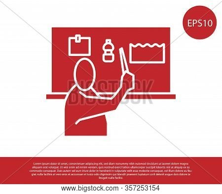 Red Stop Plastic Pollution Icon Isolated On White Background. Ecological Poster. Vector Illustration