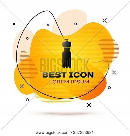 Black Bottle Of Water Icon Isolated On White Background. Soda Aqua Drink Sign. Abstract Banner With