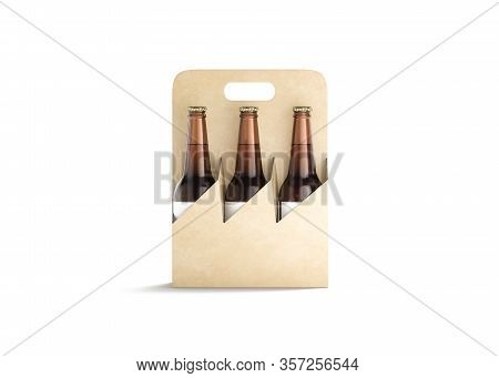 Blank Craft Cardboard Holder For Glass Beer Bottle Mock Up, 3d Rendering. Empty Paperboard Carry Pac