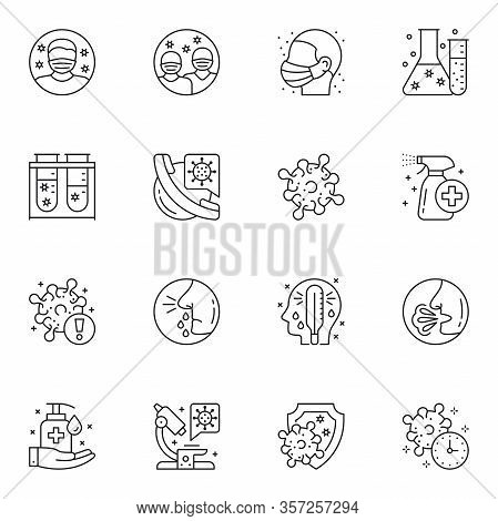 Virology Diagnosis And Treatment Thin Line Icons Set. Cough, Fever And Runny Nose Symptoms Of Sickne