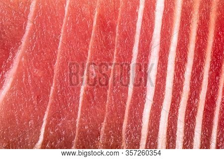 Fresh Raw Tuna Meat Texture Close Up