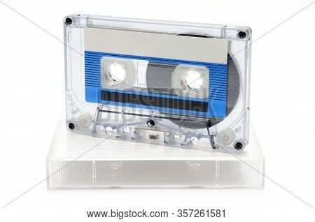 Vintage Compact Audio Tapes For Magnetic Recording On An Isolated White Background.compact Cassettte