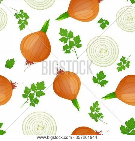 Onion Bulb With Green Sprout And Slice Isolated On White Background. Ripe Onion With Parsley Leaves.