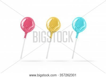 Blank Three Lollipop With Colored Wrapper Mockup, No Gravity, 3d Rendering. Empty Strawberry And Lem