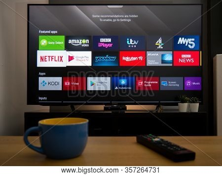 Uk, March 2020: Smart Tv Television With Apps For Catch Up Channels In Home